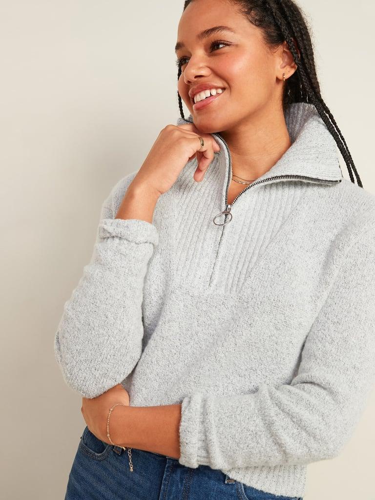 Mock-Neck 1/4-Zip Sweater