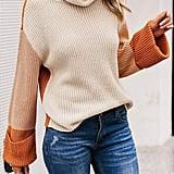 MsLure Turtleneck Color-Block Pullover Sweater