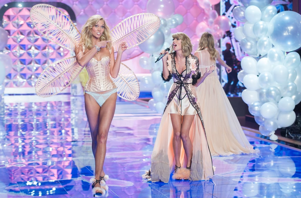 We all know that Taylor Swift and supermodel Karlie Kloss are best friends, so it was just pure magic when their respective worlds collided on the runway during the 2014 Victoria's Secret Fashion Show on Tuesday. Angel Karlie worked her stuff on the catwalk while Taylor performed her hits, and the two couldn't help but interact in adorable ways — including when they joined hands for a supermodel strut in coordinated black lace lingerie. Keep reading to see all the shots of Taylor and Karlie (both on and off the runway) from the supersexy show!