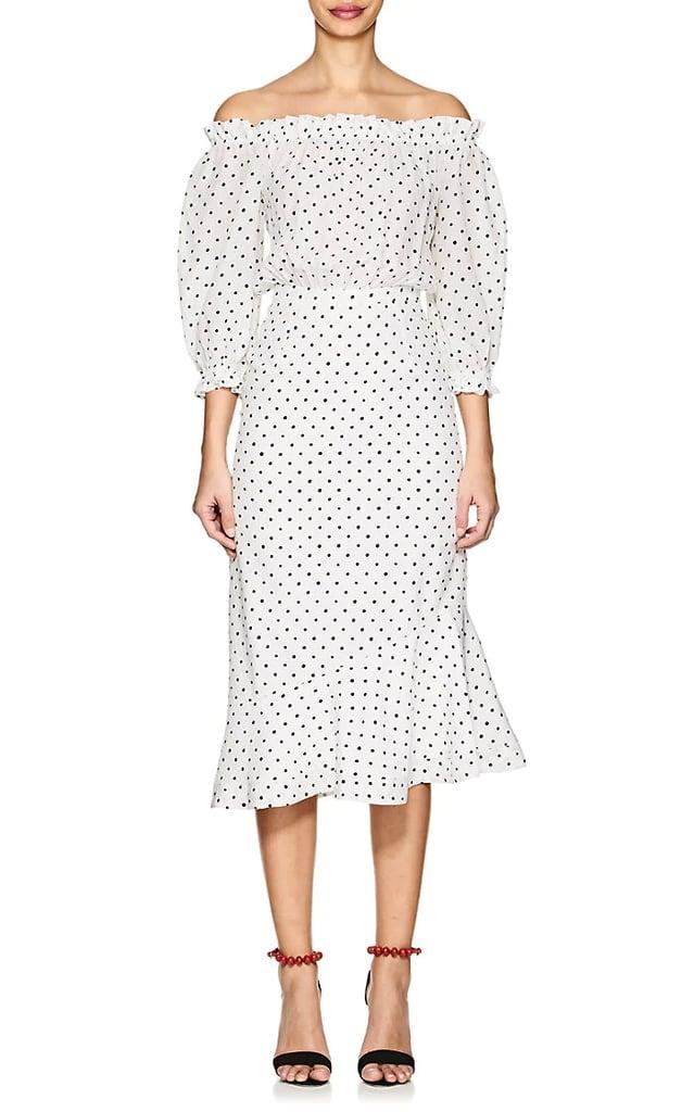 Saloni Grace Polka Dot Silk Midi Dress