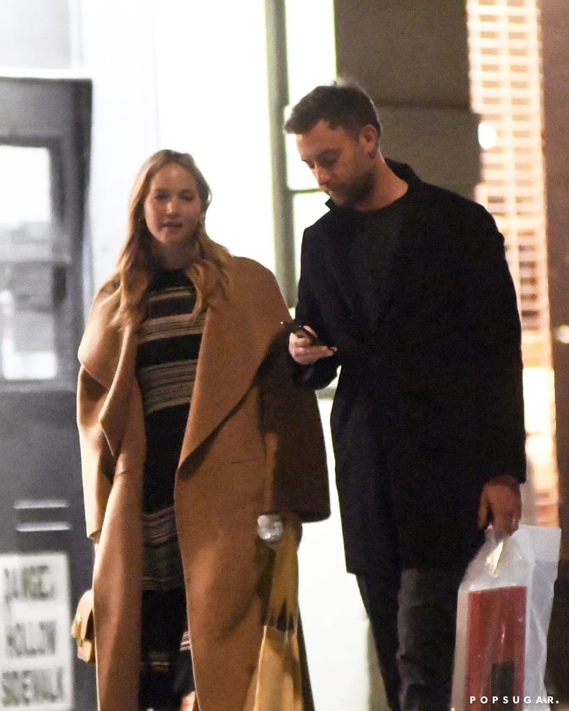 Jennifer Lawrence and Cooke Maroney tied the knot in a star-studded wedding in Rhode Island on Oct. 19, and on Sunday, the two were spotted out for the first time since becoming husband and wife. The 29-year-old actress and 34-year-old art dealer did a little shopping in NYC before grabbing dinner at il Buco restaurant. The newlyweds braved the chilly weather in coats and appeared relaxed as they chatted.  Jennifer and Cooke first went public with their romance in June 2018 after they were set up by one of the actress's friends. Their intimate wedding brought out Jennifer's pals, including Ashley Olsen, Kris Jenner, Emma Stone, and Adele, and Jennifer reportedly wore a dress designed by Dior. See photos of the newlyweds ahead!       Related:                                                                                                           Jennifer Lawrence and Cooke Maroney's Under-the-Radar Romance, in Pictures