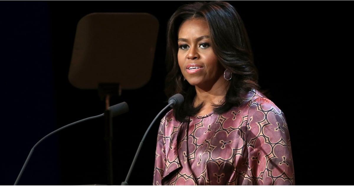 Michelle Obama Wearing a Floral Silk Robe   POPSUGAR Fashion