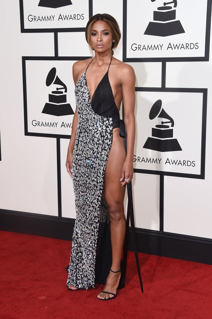 Ciara In A Sizzling Slit Wrap Dress Black Dresses At The Grammys