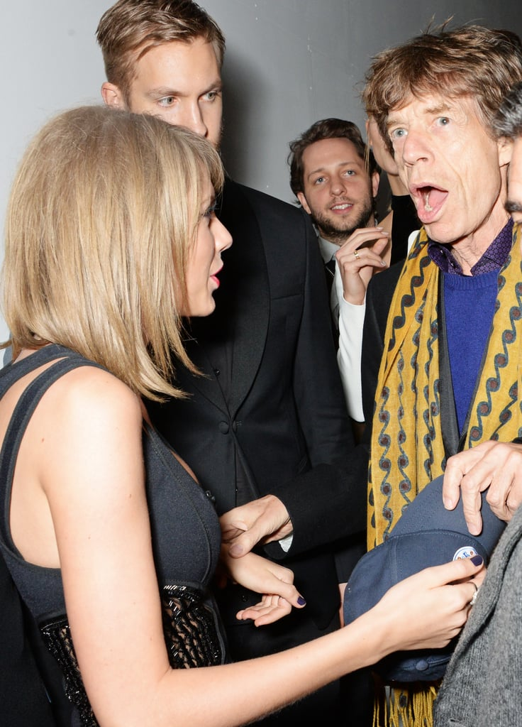 Taylor and Calvin talked to Mick Jagger at the Universal Music Brits Party back in February.