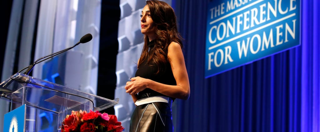 Amal Clooney Black Leather Midi Skirt 2018