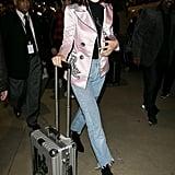 Bella Hadid Wearing Pink Dilara Findikoglu Jacket