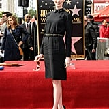 Anne struck a pose on the Hollywood Walk of Fame in her sweet, collared Prada dress and black platform Aldo heels.