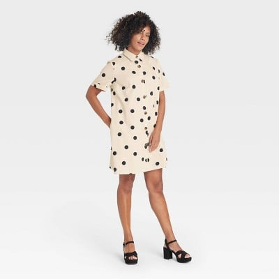 Dotted Design: Who What Wear Short Sleeve Button-Up Trapeze Dress