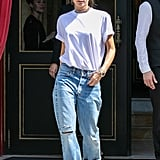 Complete a White Tee and Boyfriend Jeans With a Chunky Choker and Bright Heels