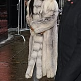 Who else besides the fearless fashion phenom herself could rock heathered sweats and New Balance 574's with a full-length ombré fur coat?