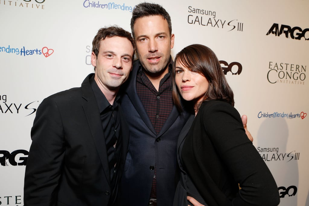 Ben Affleck put his arms around Scoot McNairy and Clea Duvall.