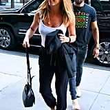 Jen's The Row bag completed her date night ensemble while out with Justin Theroux in New York in June 2016.