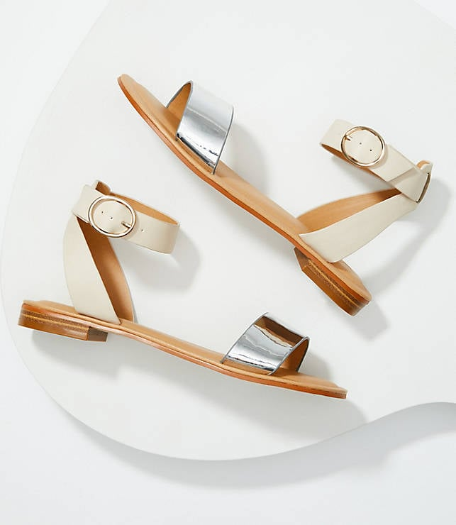 Two Tone Ankle Strap Sandals