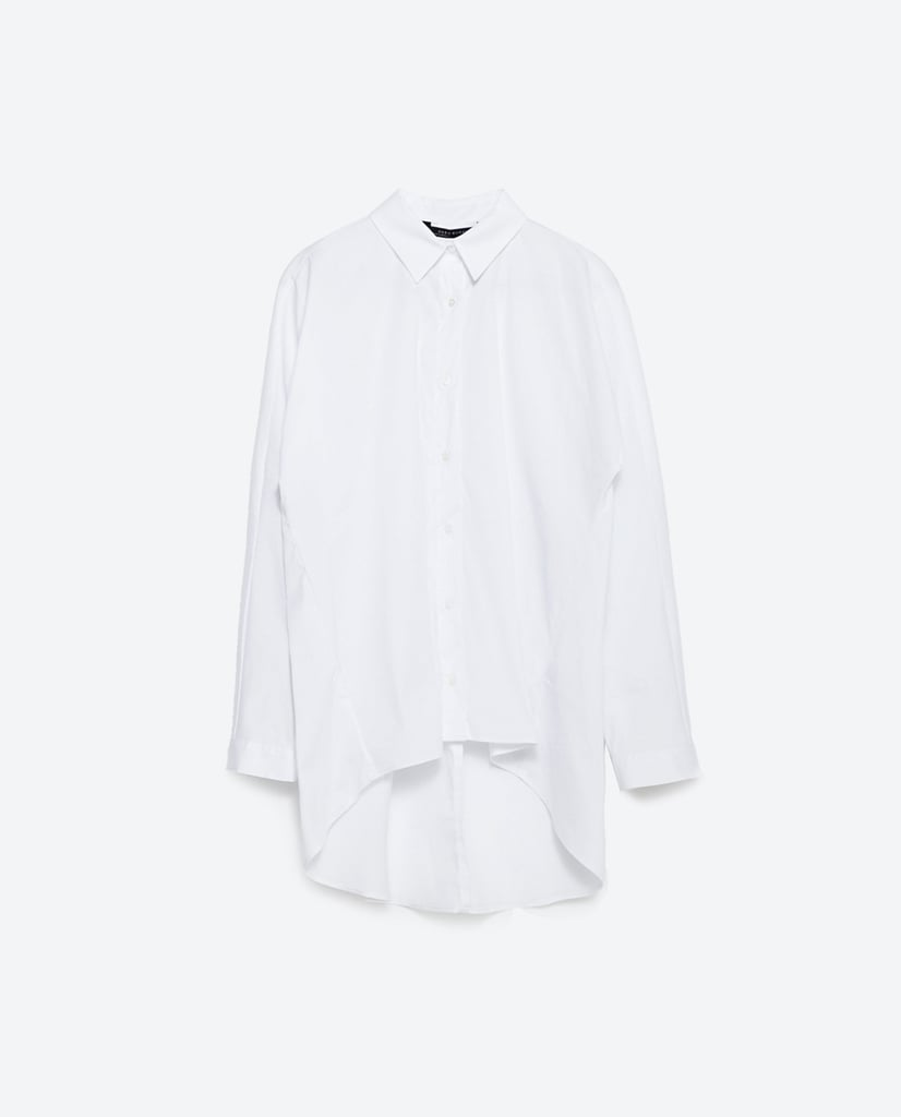 Zara Long Asymmetric Shirt ($50)