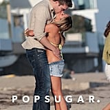 Scott Speer towered over Ashley Tisdale during a romantic stroll along an LA beach in July 2012.
