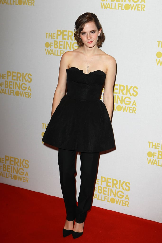 """Emma Watson hit the red carpet in London yesterday for a special screening of The Perks of Being a Wallflower (out Nov. 29) at the Mayfair Hotel. She took a fashion-forward approach by layering a dress over pants. Earlier that day she wore her glasses for a stop at BBC studios, where she promoted the film. She shared her excitement about being back in the UK on Twitter, writing, """"Yay for Perks! Lovely to be home, London."""" The movie is being released there on Oct. 3 after a limited opening in the US last Friday but still doesn't have an Australian release date. Emma's visit to BBC wasn't just about her most recent project, though, since talk also turned to Harry Potter. Recently, author J.K. Rowling announced the possibility of a director's cut version of the books, and when asked if Emma would be interested in participating, she responded, """"That's so interesting. Sure!"""""""