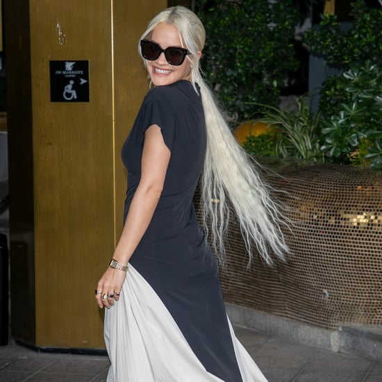 Rita Ora Wears Superlong Platinum Blond Ponytail