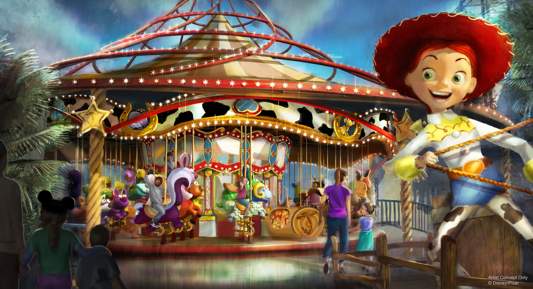 JESSIE'S CRITTER CAROUSEL AT PIXAR PIER — Jessie's Critter Carousel, a future attraction coming to Pixar Pier, is inspired by Jessie's wilderness friends featured in Woody's Roundup television show from