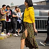 Toughen Up a Slitted Floral Slip With a Hoodie and Chunky Shoes