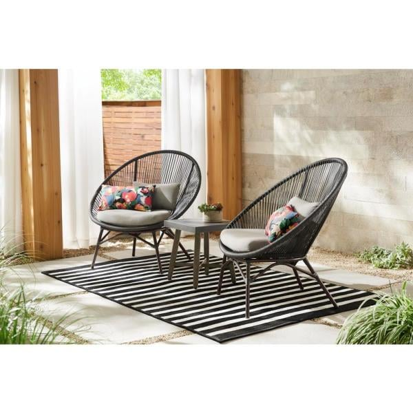 Hampton Bay Dark Gray 3-Piece Steel Papasan Rope Outdoor Patio Conversation Seating Set