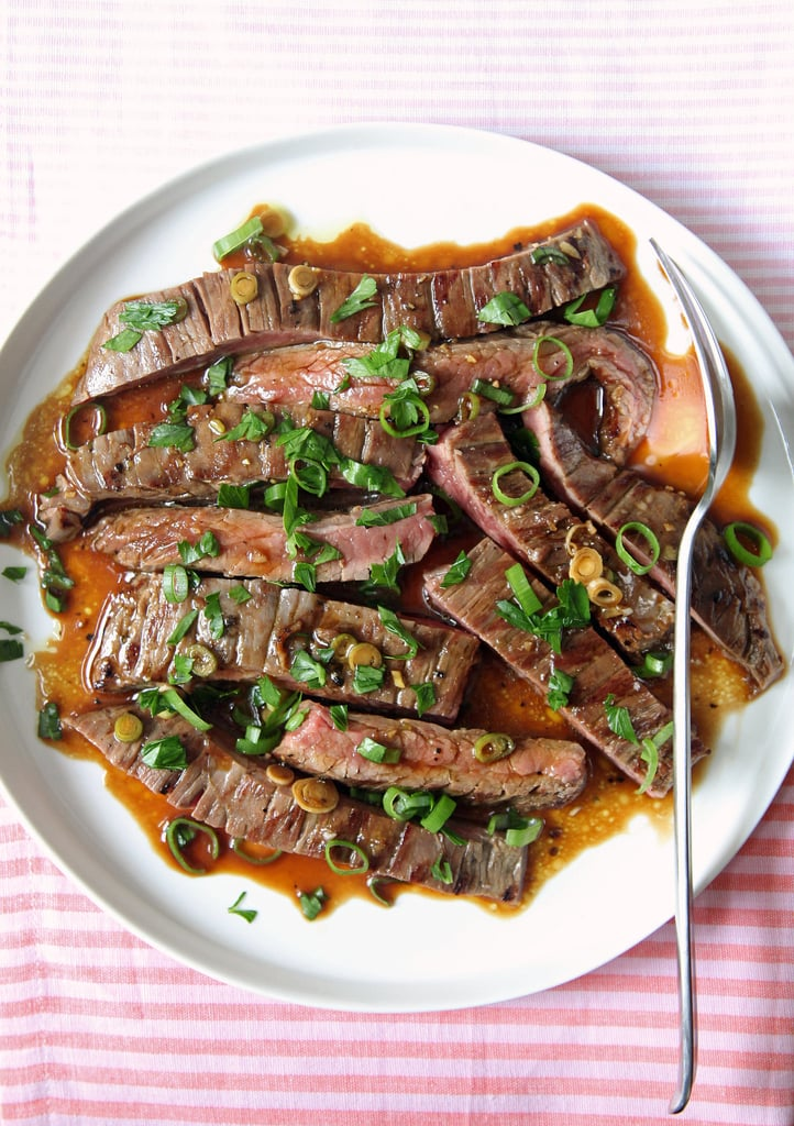 Marinate the steak AFTER it's been grilled.