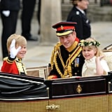 Prince Harry rode in the same carriage with two of Kate and William's bridesmaids and one of their page boys after their wedding in 2011.