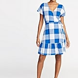 Old Navy Waist-Defined Wrap-Front Gingham Dress