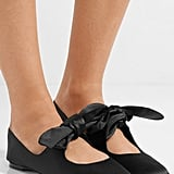 The Row Elodie Bow-Embellished Satin Ballet Flats