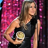 Jennifer Aniston looked great in a leather dress.