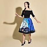 1950s Style Blue Moon & Pumpkins Print High Waist Circle Swing Skirt ($78)
