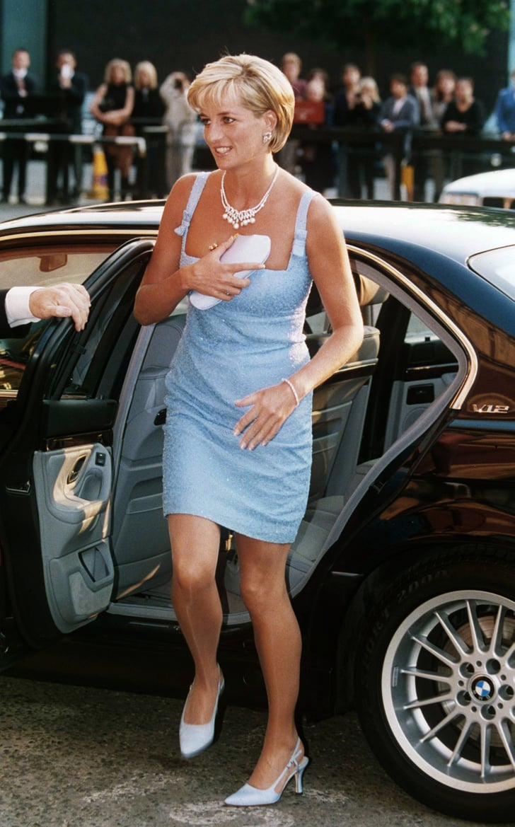 Princess Diana arrived in a blue dress and Jimmy Choo slingbacks for a ballet performance in 1997.