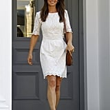 Another white eyelet number — this one from Whistles was worn the first time Pippa was photographed following the news of her engagement. A wedding dress made from the fresh, pretty fabric isn't out of the question.