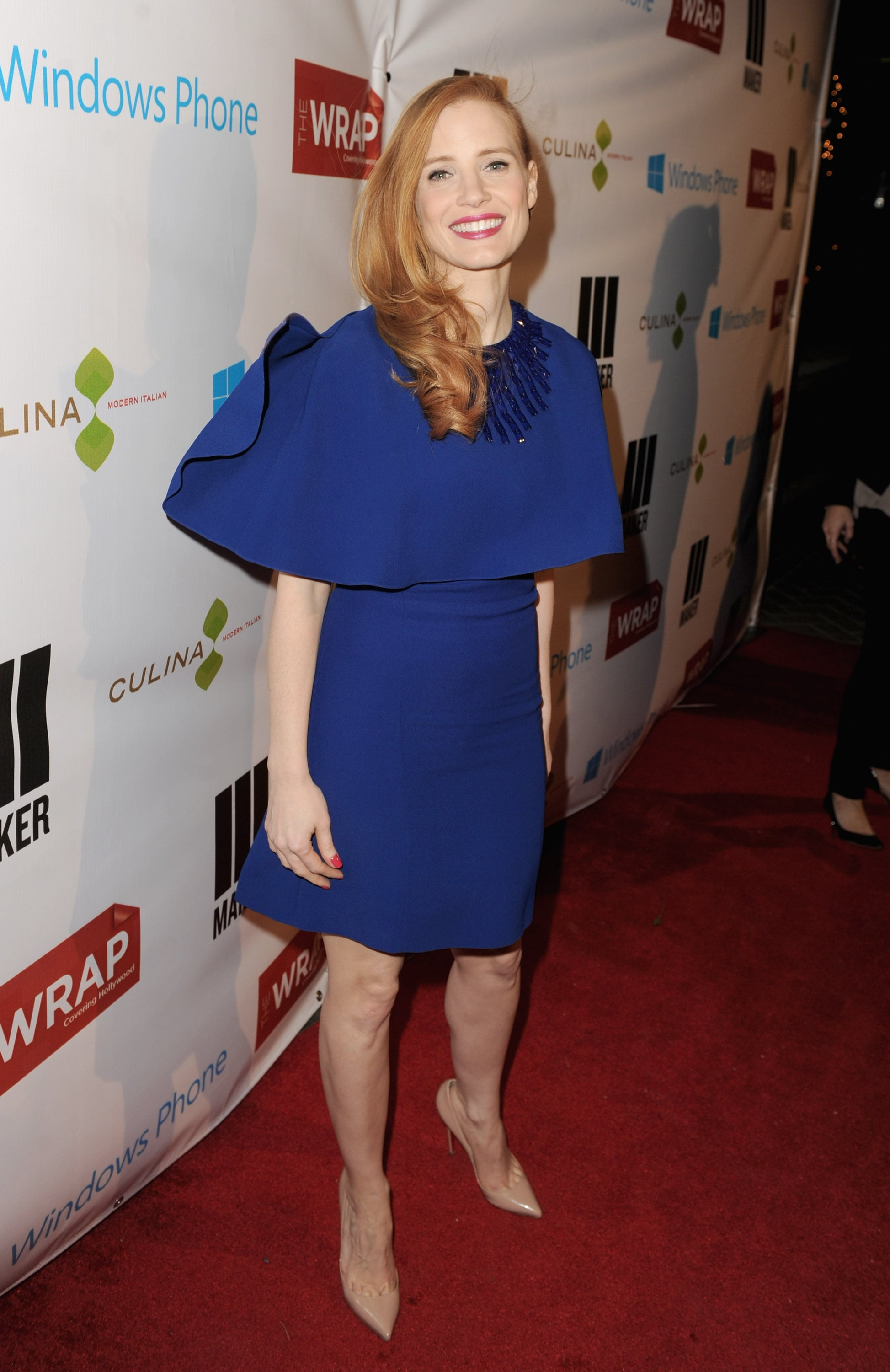 Jessica Chastain stepped out in a blue Andrew Gn dress for TheWrap's pre-Oscars bash on Wednesday.