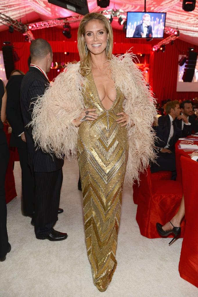 Heidi Klum posed inside Elton John's Oscar party.