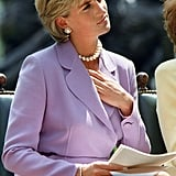Diana attended a ceremony for Red Cross headquarters in Washington DC in June 1997.