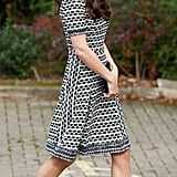 Kate Middleton Wearing Black and White Tory Burch Dress