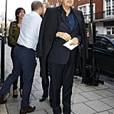 Mario Testino looked dapper while going into Kate's party.