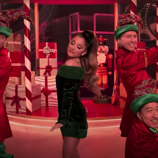 "Ariana Grande's Green Velvet Dress in the ""Oh Santa"" Video"