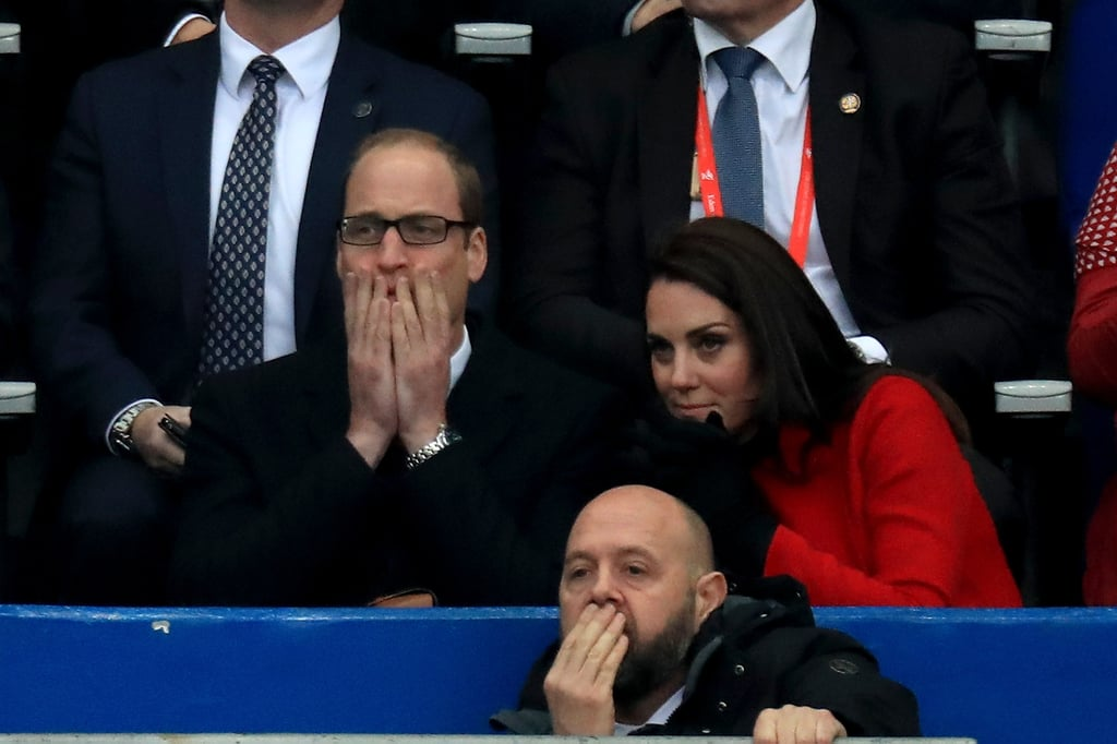 """The Duke and Duchess of Cambridge kicked off their two-day trip to Paris on Friday. The couple, who celebrated St. Patrick's Day at the Irish Guards Parade in London earlier that morning, jetted off to the City of Light in the afternoon. After they arrived they met with French President Francois Hollande at the Élysée Palace. Kate, who appeared to fly in the same outfit, flashed her signature smile while chatting with the president. She also threw some loving glances at William, which may surprise some people as the Duchess was reportedly unhappy with her husband's behaviour during his recent ski trip to the Swiss Alps. They then attended a reception at the British Embassy, where Kate stunned in a black dress and matching heels, and ended the night at a dinner at the British Embassy.       Related:                                                                                                           The Duchess of Cambridge Looks Totally at Ease While Drinking Guinness and Chatting With Soldiers               The following day, Will and Kate visited Les Invalides, a former Parisian hospital for soldiers that has since been turned into a military museum, where they learned about the museum's role in supporting veterans and rehabilitation programs. They also met with the survivors of the 2015 terror attack on the Bataclan Concert Hall, and Will offered a few words of encouragement to a woman named Jessica Bambal Akan. """"We think you are very strong and very brave, you've made amazing progress,"""" he told her. Kate also added that she would keep an eye out for her work after she mentioned that she was interested in working in the fashion industry. Will and Kate also made a stop at the Musée d'Orsay and toured the famous Impressionist Gallery before attending a charity event at the Trocadéro. While there, the royal couple met with a group of kids from both France and the UK, and Kate even showed off her sporty side as she tossed around a rugby ball. Later in the day, th"""