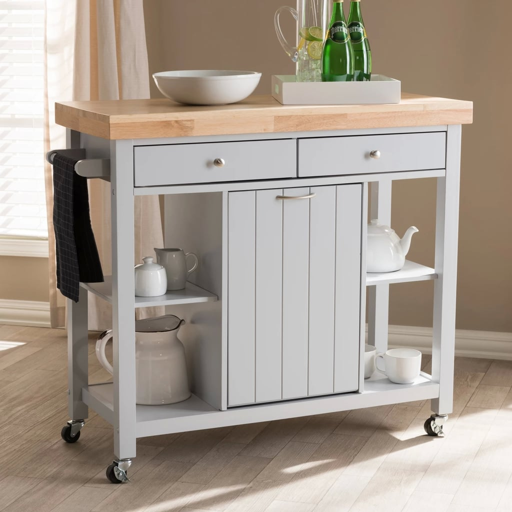 Hayward Coastal and Farmhouse Natural Wood Kitchen Cart