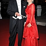 Sir Roger Moore and wife, Kristina Tholstrup, attended a dinner at Opera terraces after the religious wedding ceremony of Prince Albert II of Monaco and Princess Charlene of Monaco.