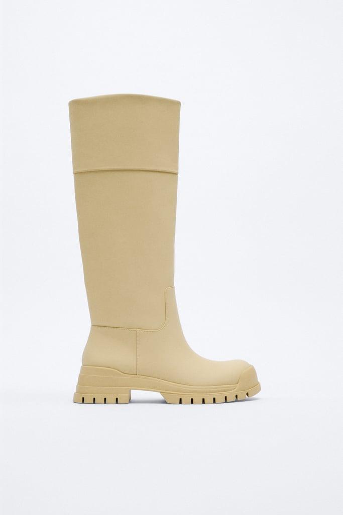Zara Waxed Finish Low Heel Boots