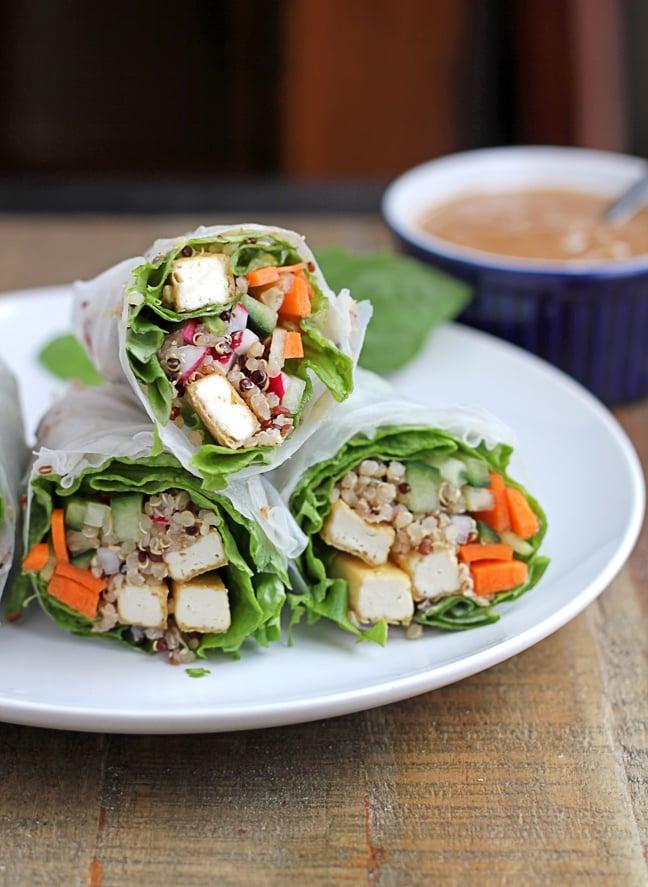 Tofu Quinoa Fresh Rolls With Easy Peanut Sauce