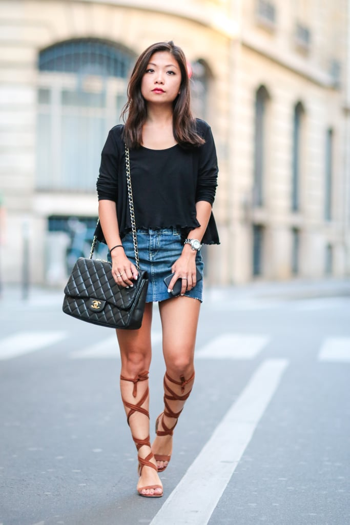 A pair of gladiator sandals pairs perfectly with a denim mini skirt.