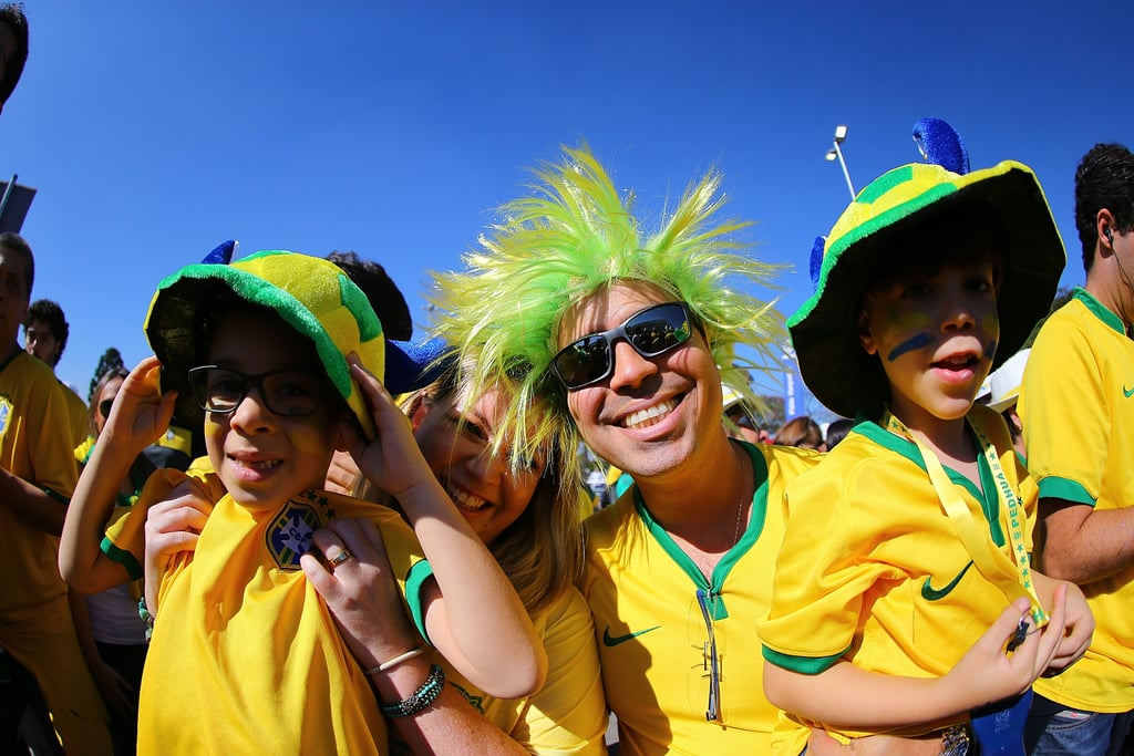 Brazil fans dressed up for the World Cup opening ceremony.