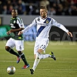 David Beckham scored a goal for the Galaxy.