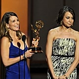 Tina Fey and her 30 Rock writing partner Tracey Wigfield won the award for best writing for a comedy series.