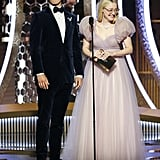 Ansel Elgort and Dakota Fanning at the 2020 Golden Globes