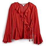Ruffle Faux Wrap Top in Red