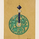 A drawing of a jade and sapphire earring from the 1920s.